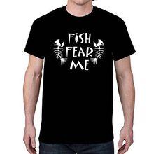 New Fashion Men Tops Cool O-Neck 100% Cotton T-Shirt Fish Fear Me Black T-Shirt Cool Unique Design Casual T Shirt