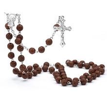 Cross Jesus Pray necklace Red AcryliBeads rosary Cross Jesus Religious necklace Jesus Mercy Saint Icons Religious jewelry Rosary