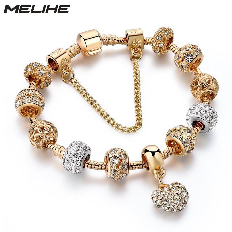 MELIHE luxe cristal coeur bracelets porte-bonheur & bracelets couleur or bracelets pour femme bijoux Pulseira Feminina Sbr170020