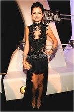 새로운 도착 무료 배송 셀레나 고메즈 mtv 비디오 뮤직 어워드 블랙 레이스 연예인 드레스 도매