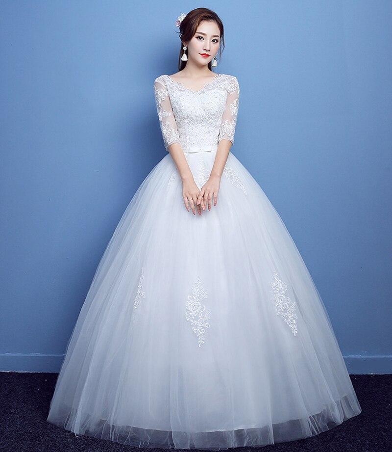 Vestido de boda de lujo nuevo de talla grande encaje de novia vestidos de baile vestidos de boda mangas de hombro vestido de princesa