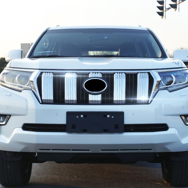 ABS cromado Exterior radiador frontal rejilla Honeycomb cubierta recortada 6 piezas para Toyota Land Cruiser Prado J150 2018