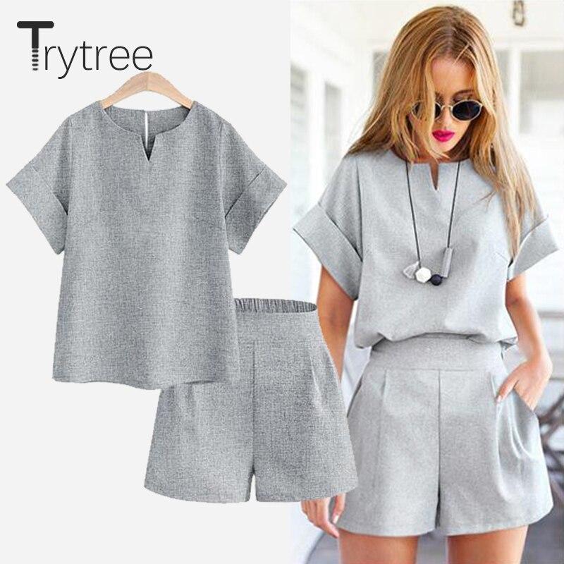 Женский Повседневный комплект из двух предметов Trytree, повседневный топ из полиэстера + шорты, однотонный офисный костюм размера плюс, комплекты с короткими рукавами