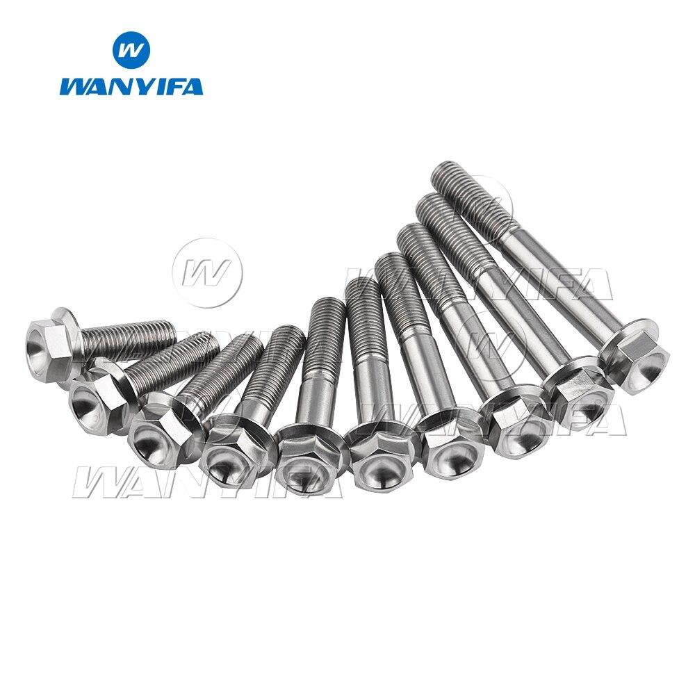 Wanyifa de titanio perno M10 x 30 35 40 45 55 60 65 70 75 80 100mm 1,25 cabeza hexagonal perno de brida tornillos de sujeción