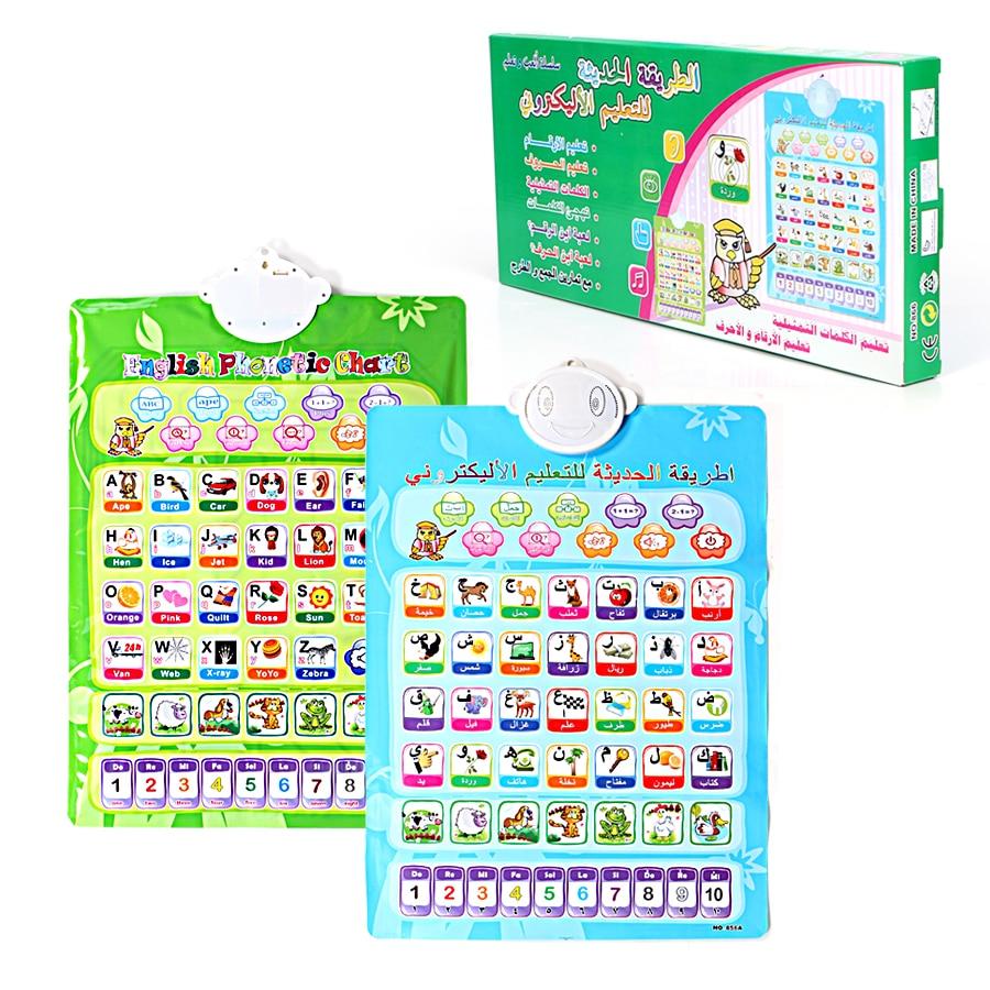Tableau mural Double face en arabe et en anglais, pour numéro dapprentissage pour enfant, alphabet, machine multifonction pour mots