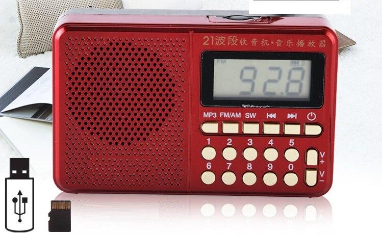 Radio de bolsillo FM/AM/SW 21 bandas Radio Mini portátil recargable receptor de Radio altavoz soporte USB TF tarjeta música reproductor de MP3