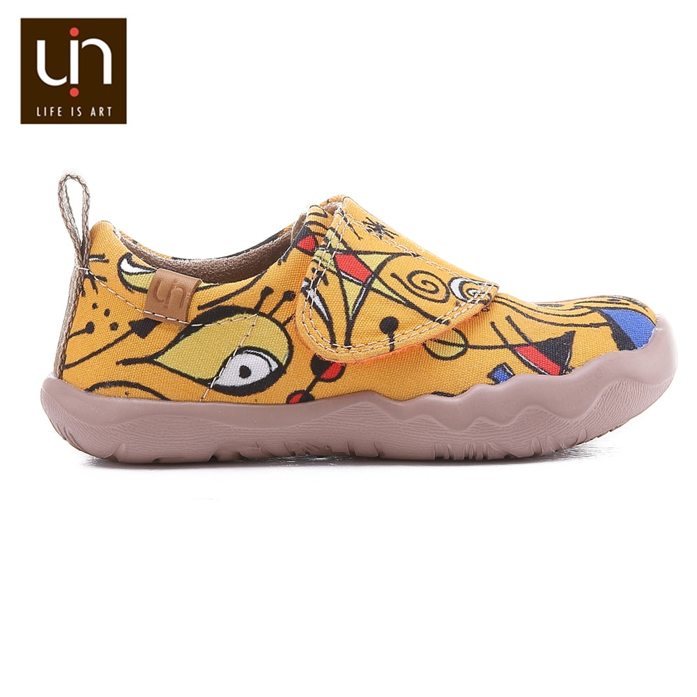 UIN Sunset Bird Design Painted Little Kids Canvas Shoes Easy Hook & Loop Sneakers for Boys/Girls Fashion Flats enlarge