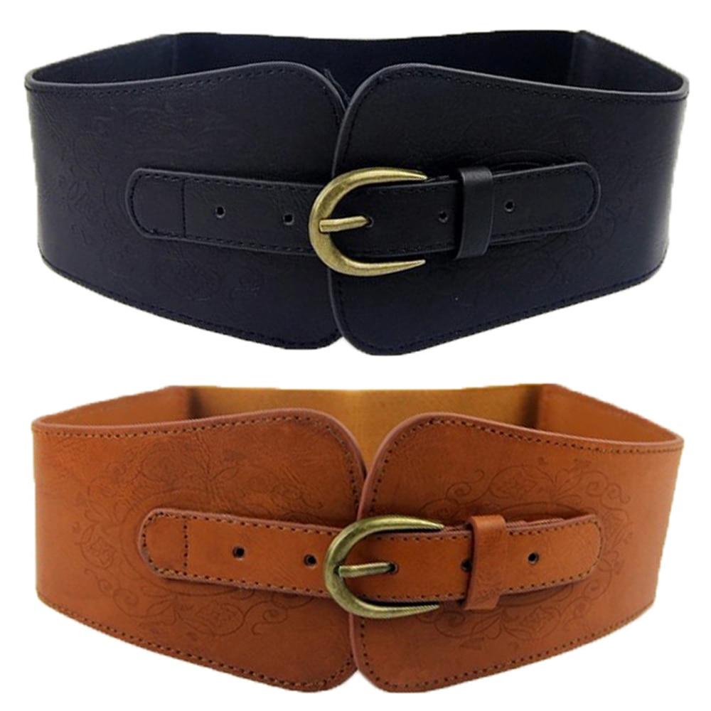 Super Wide Vintage Women Faux Leather Totem Elastic Stretch Corset Cinch Belt BLTLL0517