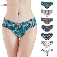 coloriented 3 pieces packing women intimates seamless panties sexy thongs cotton briefs underwear super thin ice silk pants