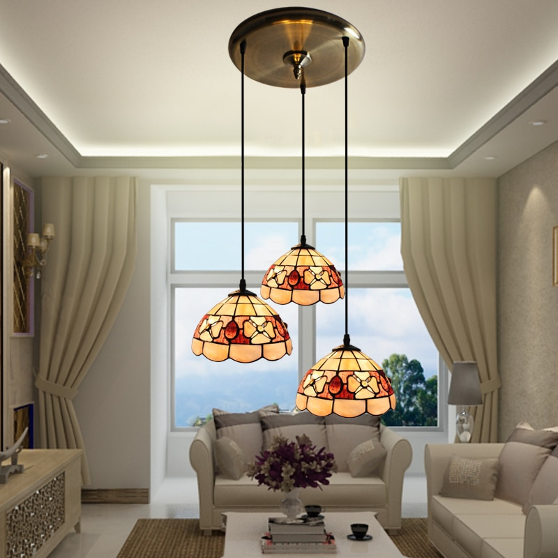 Tiffany Mediterranen stil natürliche shell anhänger lichter lüster nacht licht led lampe boden bar hause beleuchtung