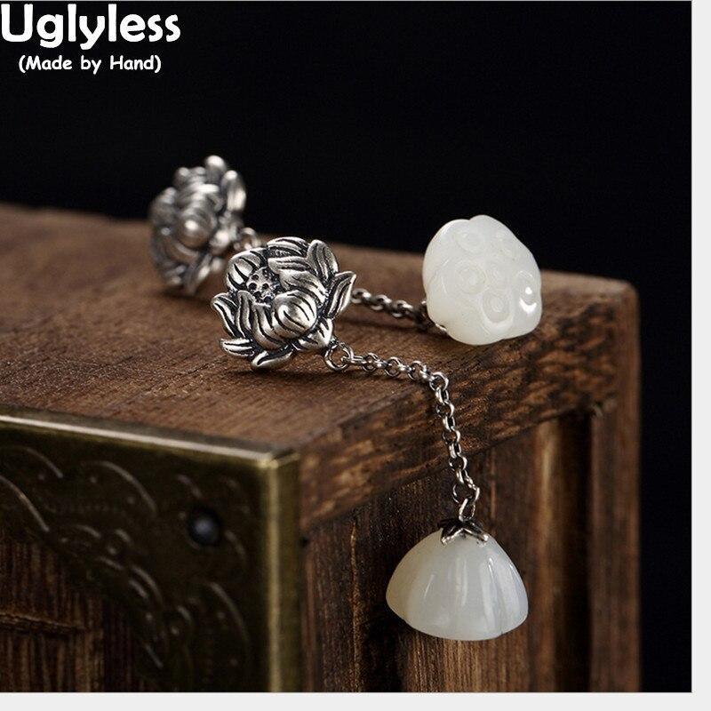 Uglyless Real 925 Sterling Silver Nature White Jade Lotus Drop Earrings Women Vintage Engrave Floral Brincos Bijoux Fine Jewelry