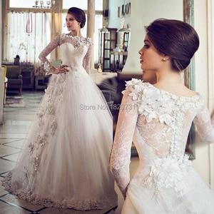 Hot sale Long A-line vestidos de novias A-line Gowns wedding Dresses 2020 Long Sleeve Flower Lace applique Wedding Dress