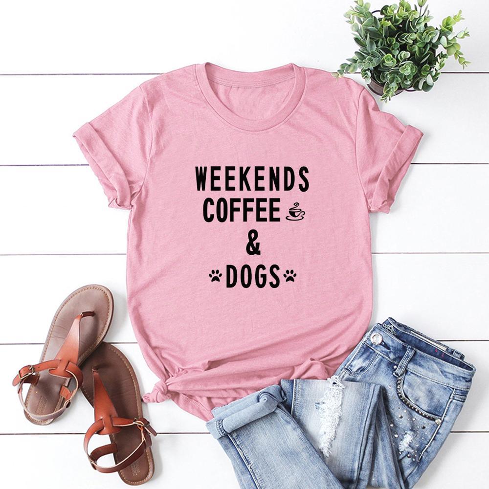 Talla grande S-5XL FIN DE SEMANA café perro carta impresa Mujer Camisetas Camiseta 100% algodón manga corta verano camiseta Tops Casual camiseta