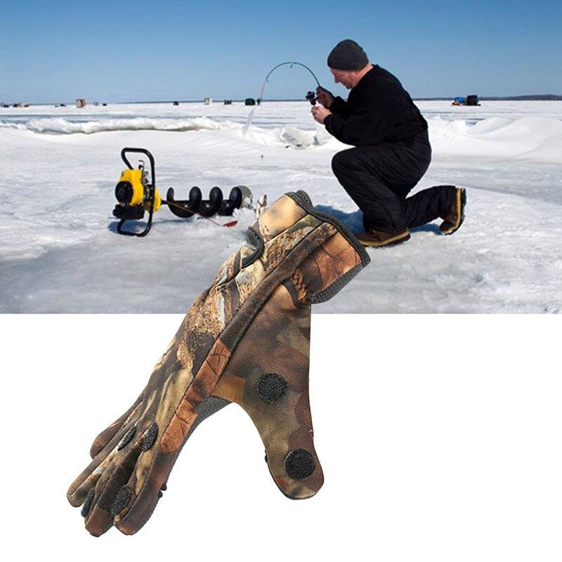 Guantes de caza de camuflaje impermeables para invierno guantes de pesca antideslizantes 3 dedos cortados al aire libre Sprot ciclismo esquí guantes de dedo completo 30