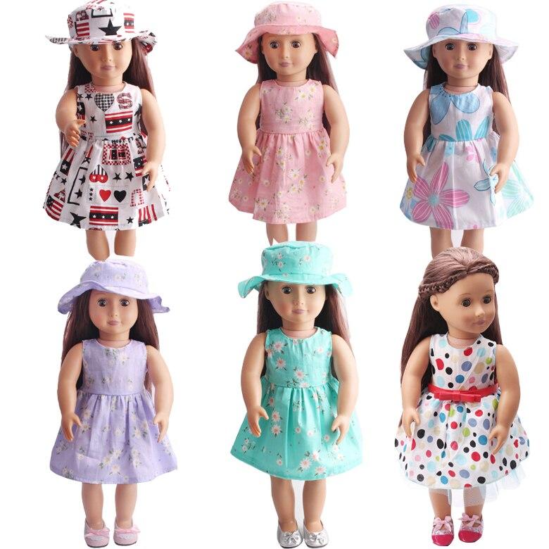 Lalka sukienka dla 45 cm dziewczyny lalki 18 cal lalki kwiat sukienka z kapelusz słońce i pasek na pasek