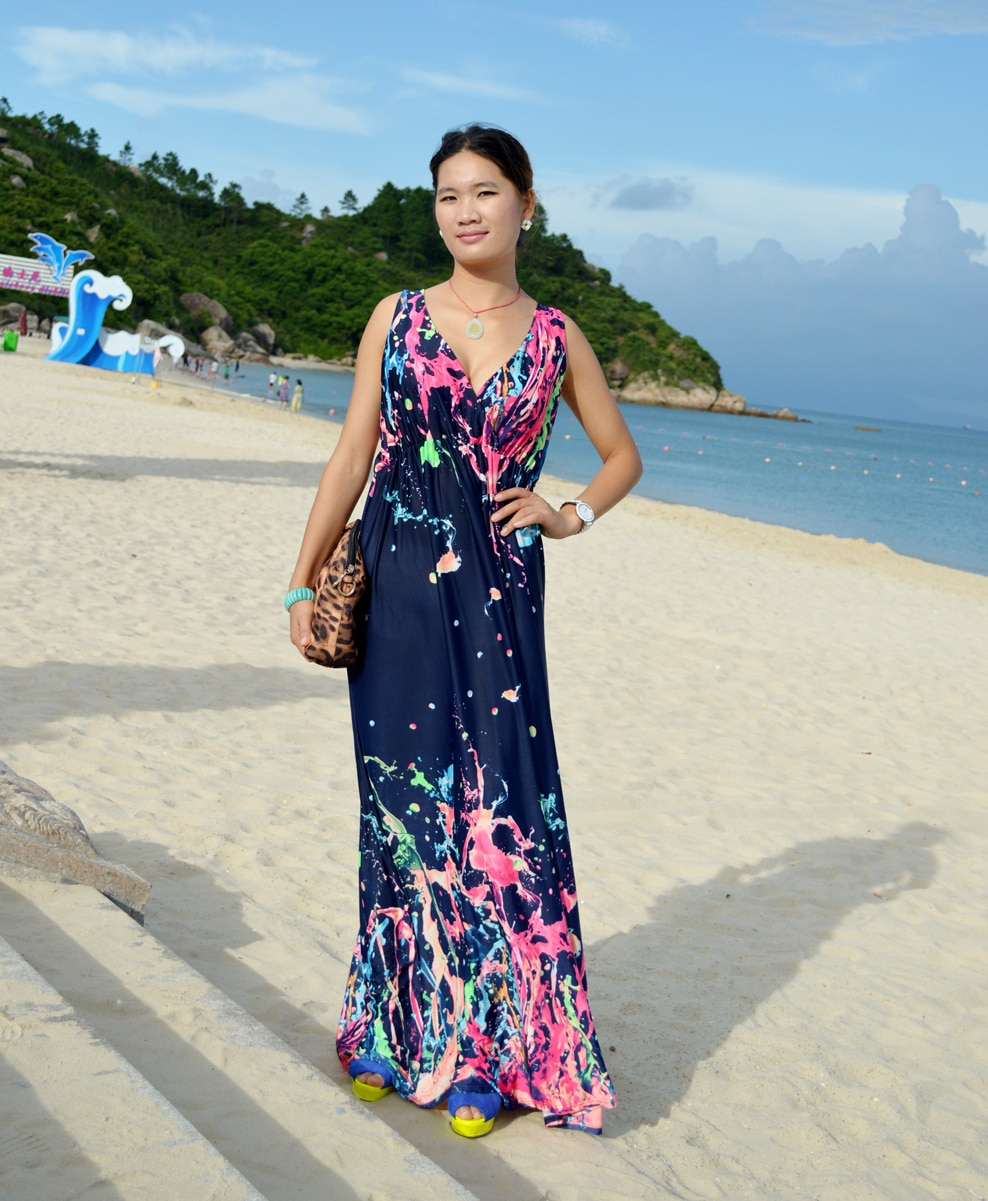 Women Summer Dress  Printed Bohemian Beach Dress Plus Size 6XL V Neck Sleeveless Long Maxi Dress Robe Femme Vestido Longo