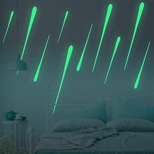 Adeeing 10pcs/set Luminous Meteor Star Suspended Ceiling Vinyl Waterproof Decor Sticker for Kids Room