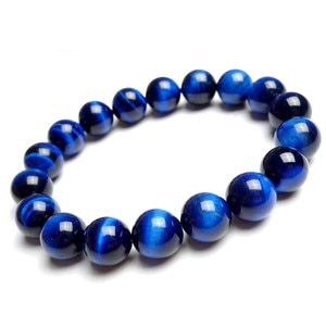 12mm Genuine Natural Black Blue Tiger's Eye Round Beads Bracelets For Women Stretch Charm Powerful Natural Stone Bracelets