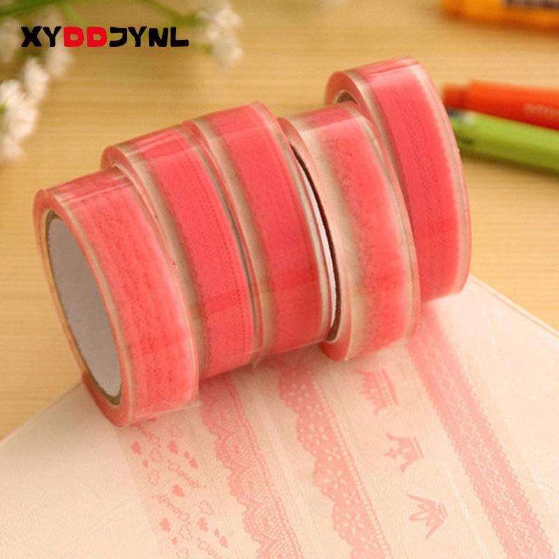 2 Pcs Lace Pattern Decorative  Tape 15mm X 10m DIY Album Decorative PVC Tape Kawaii Stationery Scrapbooking Stickers