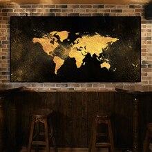 Abstrakte Schwarz Gold Welt Karte Leinwand Malerei Skandinavischen Poster und Druck Nordic Wand Kunst Bild für Wohnzimmer Kinder Zimmer Dekor