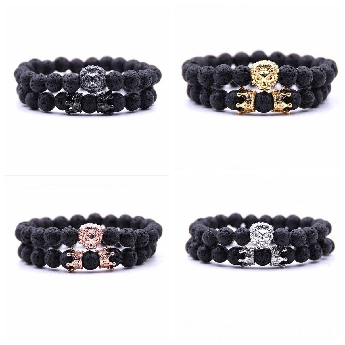 2pcs 8mm Natural Lava stone Bracelet Copper Crown Jewelry Men jewelry Elasticity Bracelets Women Chakra Bangl