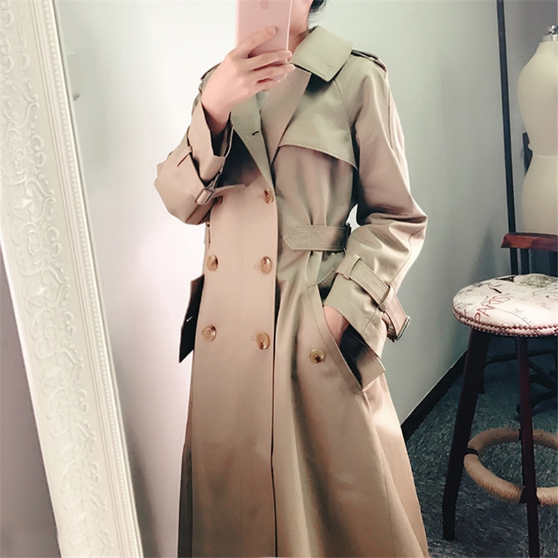 Gabardina informal con doble botonadura para Mujer, prendas de Vestir Vintage elegantes...