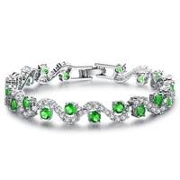 green zirconia exquisite sparkling bracelet white gold filled beautiful wedding party women bracelet wrist chain