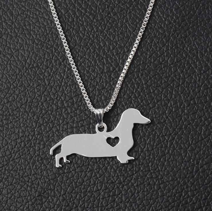 Mignon coeur amour teckel chien mémorial cadeau chiot Doggy Pet amant cadeaux pendentif collier
