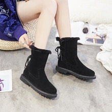 Mittlere Waden Schnee Stiefel Plattform 3 cm Heels Aus Echtem Leder Frauen Schuhe Schwarz Grau Spitze Up Flock Fashion Damen Pelz winter Stiefel