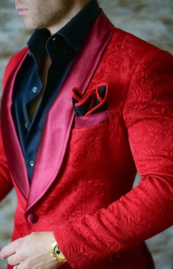Los últimos diseños de pantalones de abrigo chal de solapa de diseño rojo trajes de boda Slim Fit 2 piezas de moda para hombre para fiesta de graduación esmoquin (chaqueta + Pantalones)