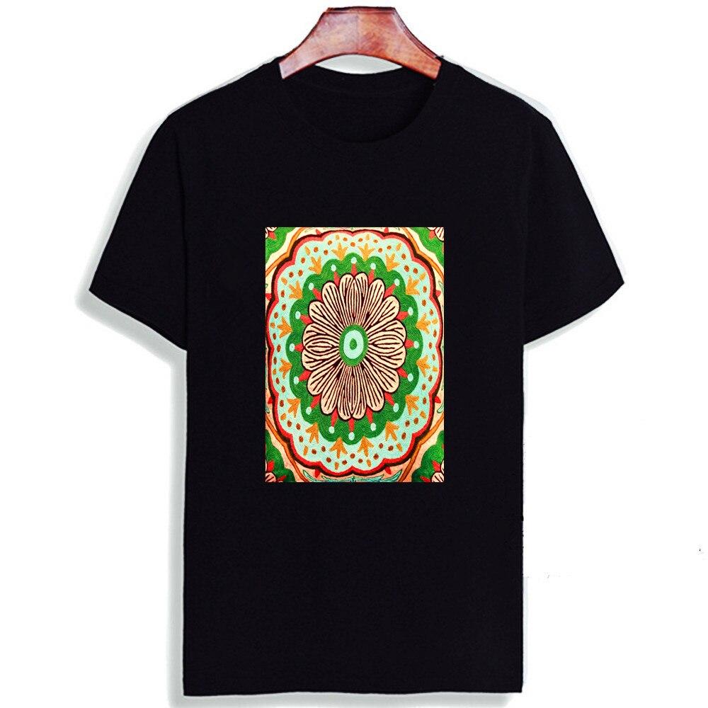 Camiseta de manga corta a la moda con patrón de Mandala redondo de la India impreso 100% algodón camisetas de mujer cuello redondo Camiseta Unisex pareja camiseta