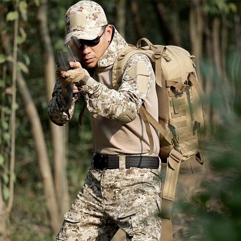 Military Tactical Clothes Camouflage Uniform  Airsoft War Game Frog Suits T Shirt + Pants Men CS Combat Sets + Kneepad Elbow Pad