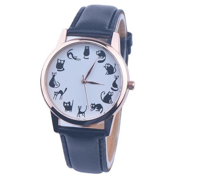 Милые женские часы с рисунком кота, повседневные часы, модные стильные наручные часы, кварцевые часы, Reloj Mujer