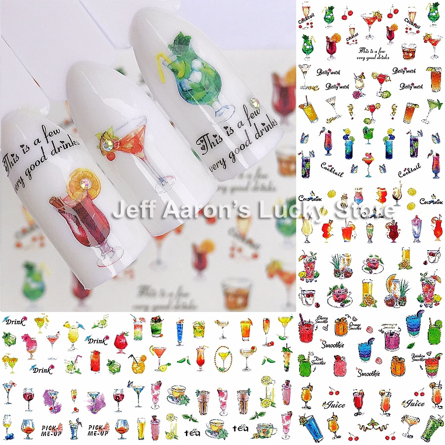 AliExpress - 12 Sheets cocktail water transfer nail sticker decals manicure nails sticker art decorations supplies tool fruit juice designs