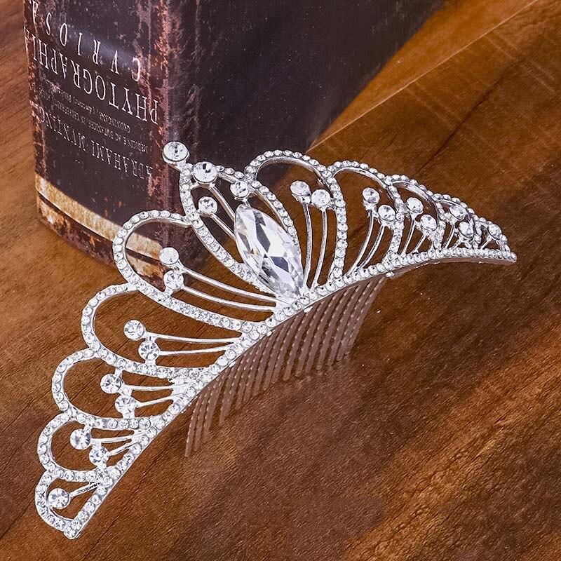 Coronas y Tiaras de novia de quinceañera, accesorios para el cabello de boda, diadema de cristal, Tiara para chica, peine para cabeza de niños, joyería para fiesta
