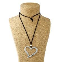 1 pièces Lagenlook grand pendentif coeur de pêche en alliage abstrait Long collier en cuir suédé