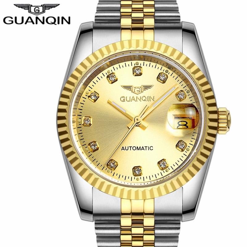 GUANQIN Men Automatic mechanical watch Diamond Waterproof sapphire watches steel men luxury top brand menb gold wristwatches