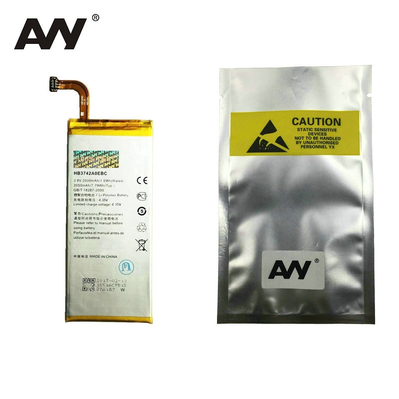AVY Battery HB3742A0EBC For Huawei Ascend P6 G6 G621 TL00 G620 C8817D H30 C00 Mobile phone Replacement Li-ion Batteries 2000mAh enlarge