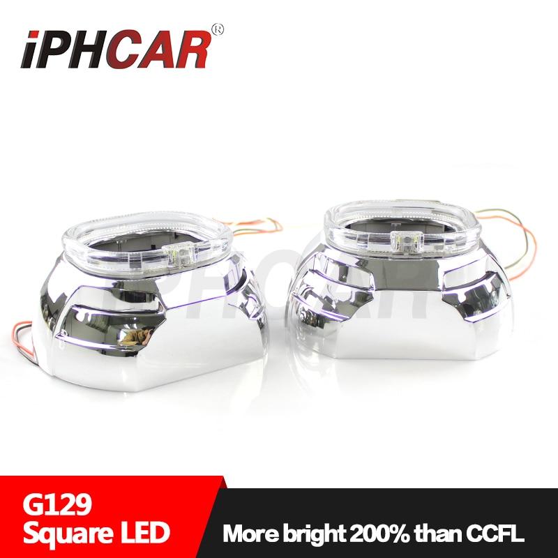 Envío Gratis IPHCAR LHD/RHD 12V 35W cuadrado Universal Super Angel Eyes proyector lente H1 xenón bombilla H4 H7 faro