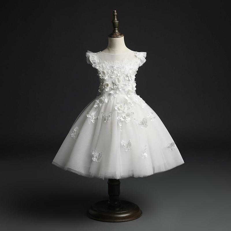 Vestido Floral para niñas con flores, vestido blanco de tul para desfile, fiesta de boda, vestido de Baile de Princesa, vestido Formal de ocasión para niñas, Vestido de primera comunión
