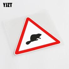 YJZT 13CM*11.5CM Cartoon Fun Animal Warning Signs PVC Car Sticker Decal Accessories 13-0791