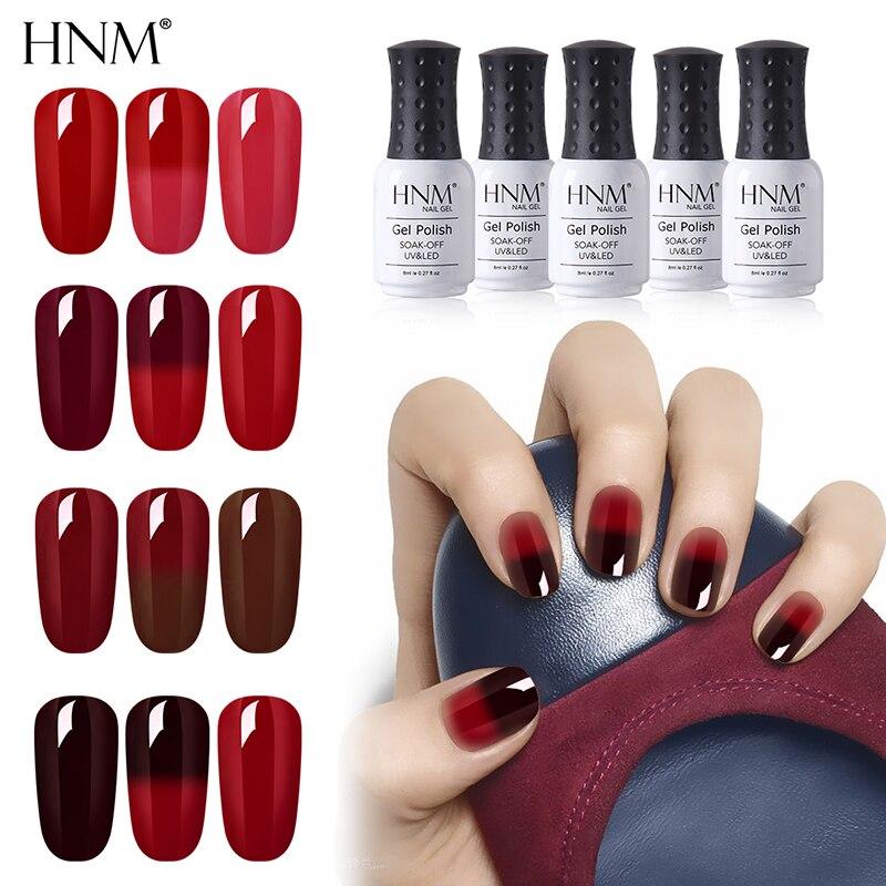 HNM 8 мл красный цвет изменение температуры Цвет УФ-гель для ногтей Полупостоянный счастливый Гибридный эмаль термо-гель лак основа
