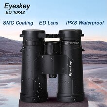 Powerful Eyeskey ED 10x42 Waterproof Binoculars SMC Coating Bak4 Prism Optics Golden Magnification Telescope for Camping Hunting