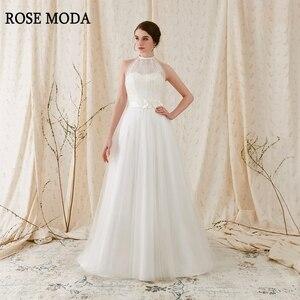 Женское свадебное платье с открытой спиной, розовое платье в стиле бохо со шлейфом и лямкой на шее, Пляжное свадебное платье с цветочным поя...
