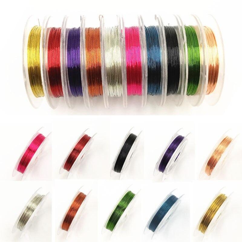 0.3mm * 10m cabo quente/fio de corda de miçangas 10 cores fashsion cobre 1 rolo diy fio que faz jóias acessórios