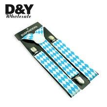 Bretelles à carreaux et clips pour hommes   Bretelles larges de 35mm, bretelles blanches, bleu ciel et diamant, vêtements pour hommes, pantalon de sport, sangle à carreaux