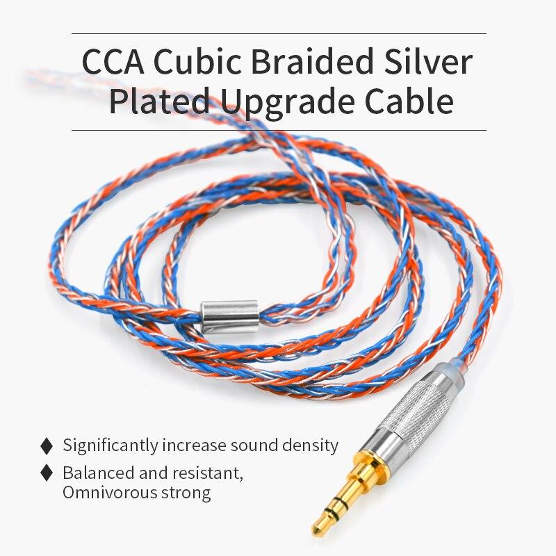 Cable de auriculares CCA Cable de actualización plateado cúbico de 8 núcleos para CCA C16 C10 CA4 C16 ZS10 PRO AS16 AS10 ZST ES4