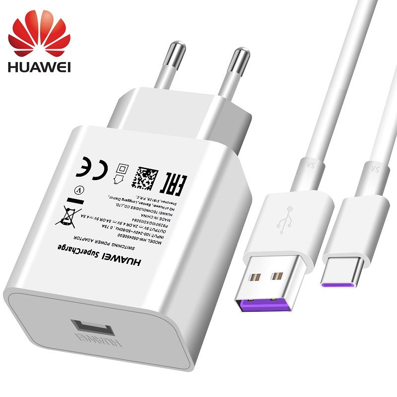 Huawei USB Charger Wall Travel SuperCharge Fast 100% Original 5V4.5A 5A USB Type C Cable P20 Pro Lit