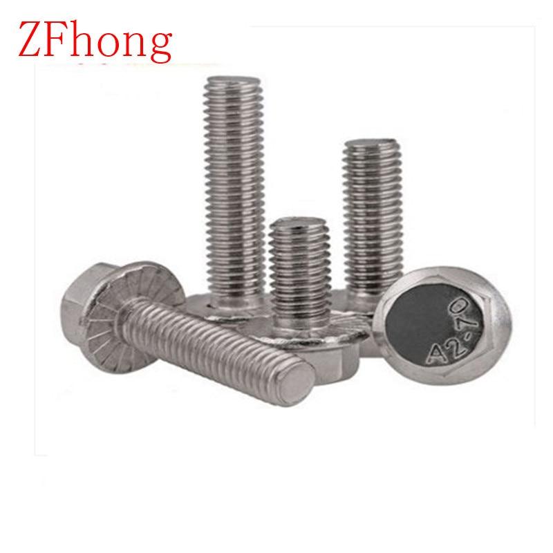 20 unids/lote DIN6921 M6 hexagonal de acero inoxidable perno de brida dentada perno bridado M6 * 8/10/12/16/20/25/30/35/40/45/50/55/60