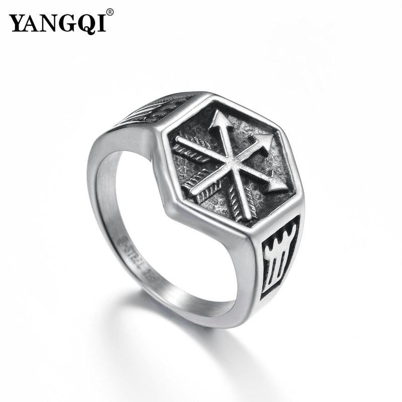 Кольцо с шестиугольной верхушкой YANGQI Norse Viking, кольцо с кольцом-стрелкой серебряного цвета Панк, байкерские украшения, геометрические кольца